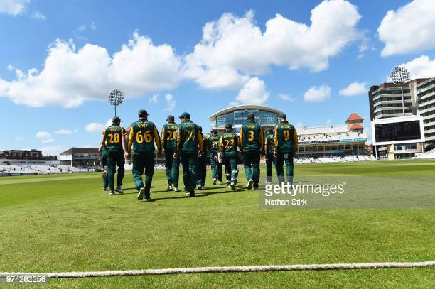 Nottingham players make their way to the field during the Royal London OneDay Cup match between Nottinghamshire Outlaws and Kent Spitfires at Trent...