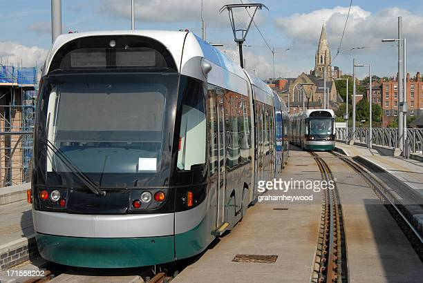 nottingham trams - nottingham stock photos and pictures
