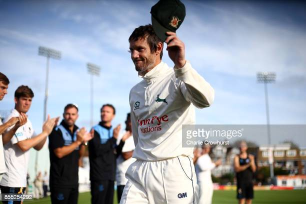 Nottingham's Chris Read is applauded off after playing his last game as he captains his team to promotion during day four of the Specsavers County...