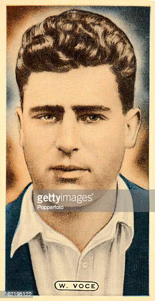 Nottinghamshire and England cricketer Bill Voce featured on a vintage cigarette card published circa 1935