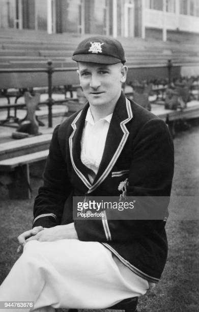 Nottinghamshire and England cricketer Harold Larwood wearing his MCC England tour blazer from the 1932-33 Bodyline series in Australia, at Trent...
