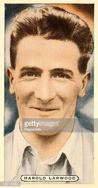 Nottinghamshire and England fast bowler Harold Larwood featured on a vintage cigarette card published circa 1935