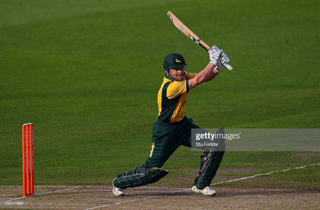 Nottinghamshire batsman Chris Read hits out during the Friends Provident T20 match between Nottinghamshire and Lancashire at Trent Bridge on June 15, 2010 in Nottingham, England.