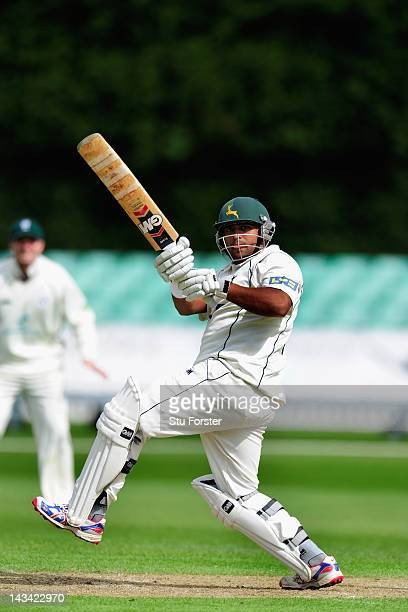 Nottinghamshire batsman Samit Patel picks up some runs during day one of the LV County Championship match between Worcestershire and Nottinghamshire...