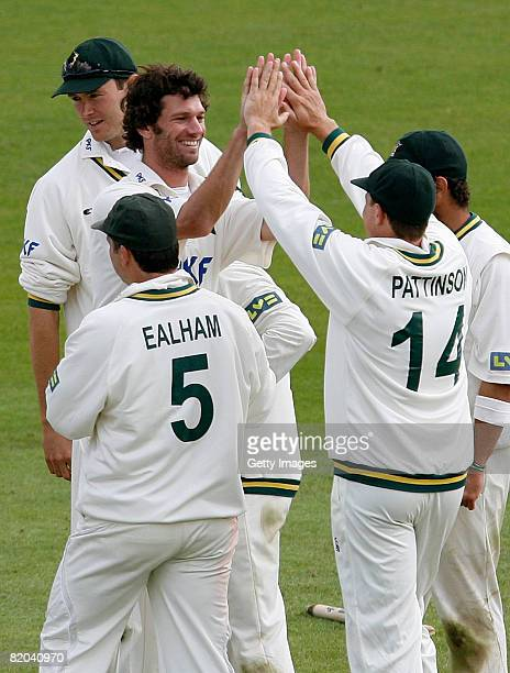 Nottinghamshire bowler Charlie Shreck celebrates as he takes a wicket during the LV County Championship Division One match between Nottinghamshire...