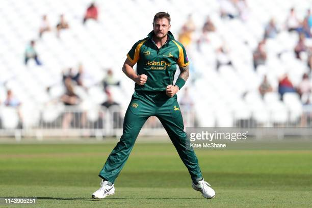 Nottinghamshire bowler James Pattinson celebrates after bowling Lancashire batsman Glenn Maxwell during the Royal London One Day Cup match between...
