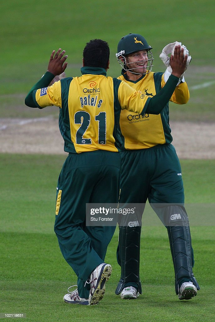 Nottinghamshire bowler Samit Patel (l) and wicketkeeper Chris Read celebrate after Patel had bowled Steven Croft during the Friends Provident T20 match between Nottinghamshire and Lancashire at Trent Bridge on June 15, 2010 in Nottingham, England.