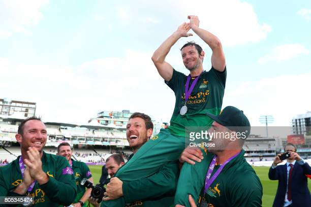 Nottinghamshire Captain Chris Read is lifted aloft as Nottinghamshire win the Royal London OneDay Cup Final betwen Nottinghamshire and Surrey at...