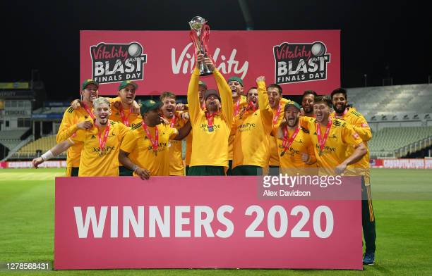 Nottinghamshire captain Dan Christian lifts the Vitality Blast Trophy with his teammates after victory in the Vitality Blast 20 Final between Surrey...