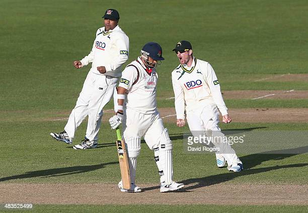 Nottinghamshire celebrate after winning the match by 45 runs after Harry Gurney bowls Ashwell Prince during day four of the LV County Championship...