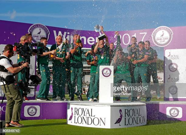 Nottinghamshire celebrate winning the Royal London OneDay Cup Trophy at Lord's Cricket Ground on July 1 2017 in London England