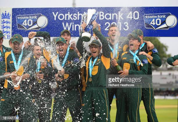 Nottinghamshire celebrate with the trophy after securing victory in the Yorkshire Bank 40 Final match between Glamorgan and Nottinghamshire at Lord's...