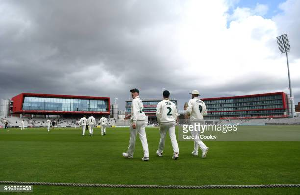 Nottinghamshire head on to the field ahead of the four day of Specsavers County Championship Division One match between Lancashire and...