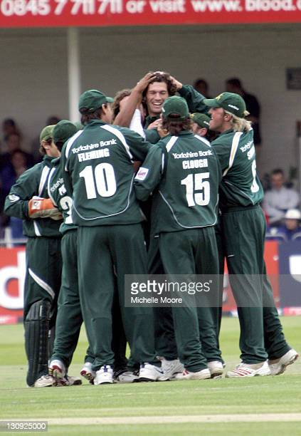 Nottinghamshire Outlaws celebrate after Charlie Shreck bowled out a player from Surrey Cricket in the Twenty20 Cricket Cup semi final at Trent Bridge...