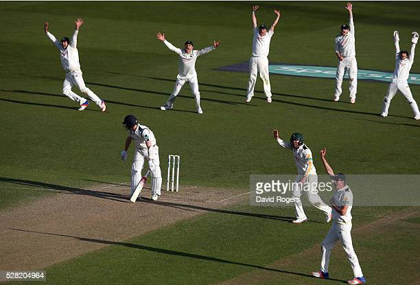 Nottinghamshire players celebrate after Steven Patterson is caught LBW off the bowling of Stuart Broad during the Specsavers County Championship...