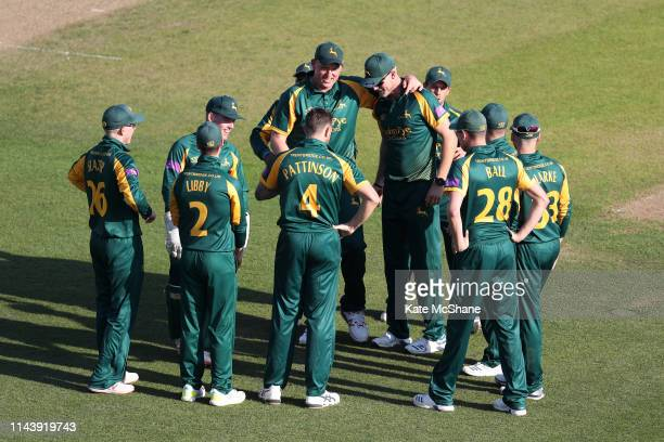 Nottinghamshire players celebrate the dismissal of Steven Croft of Lancashire during the Royal London One Day Cup match between Nottinghamshire and...