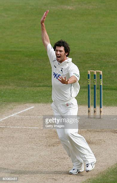 Nottinghamshire's Charlie Shreck appeals unsuccessfully for a wicket during the LV County Championship Division One match between Nottinghamshire and...