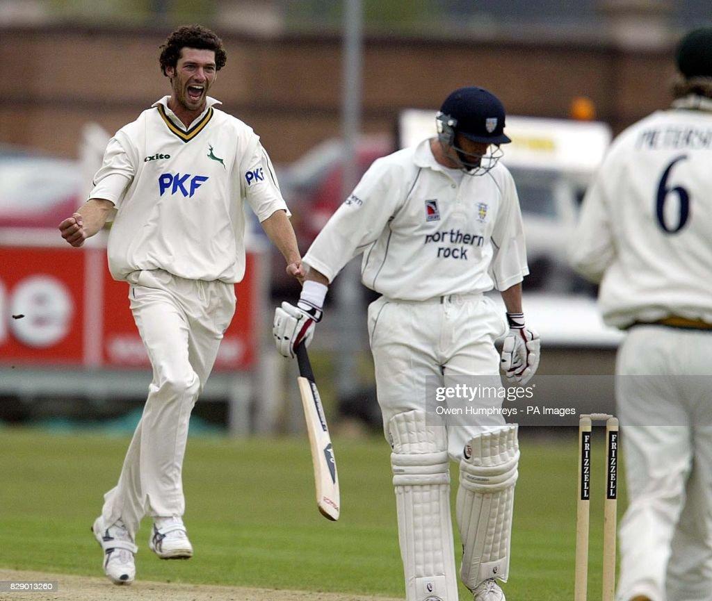 Nottinghamshire's Charlie Shreck celebrates the wicket of Durham's Gavin Hamilton, at the Riverside ground, Durham.