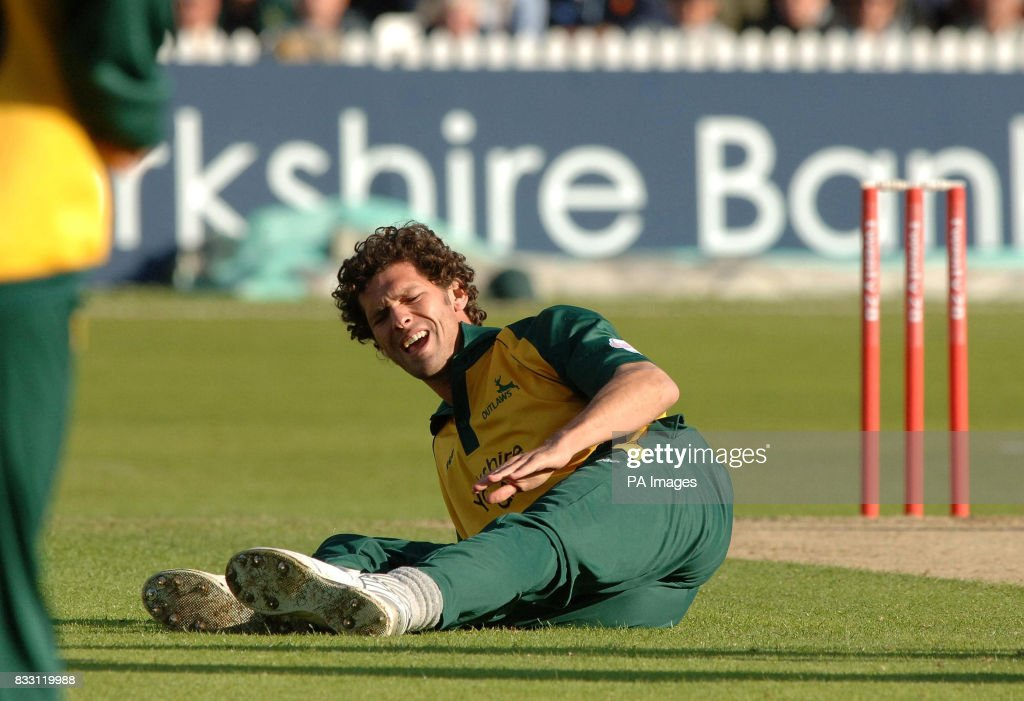 Nottinghamshire's Charlie Shreck lies injured after being hit by Derbyshire's Michael Dighton during the Twenty20 Cup match at Trent Bridge, Nottingham.