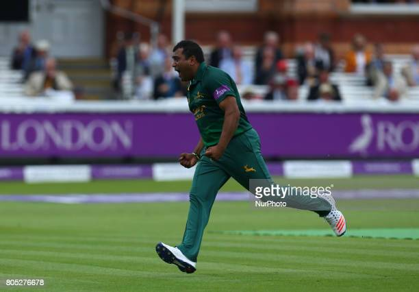 Nottinghamshire's Samit Patel celebrates the catch of Surrey's Jason Roy by Nottinghamshire's Steven Mullaney during the Royal London OneDay Final...