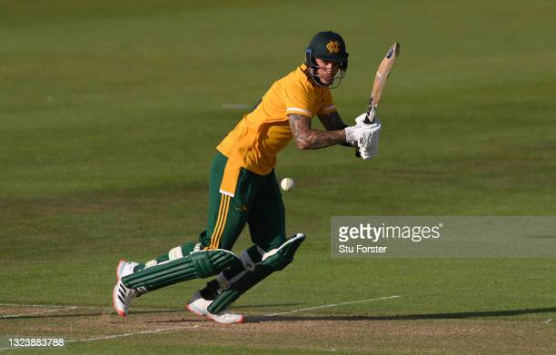 Notts batsman Alex Hales hits out during his 96 not out during the Vitality T20 Blast match between Durham Cricket and Notts Outlaws at Emirates...