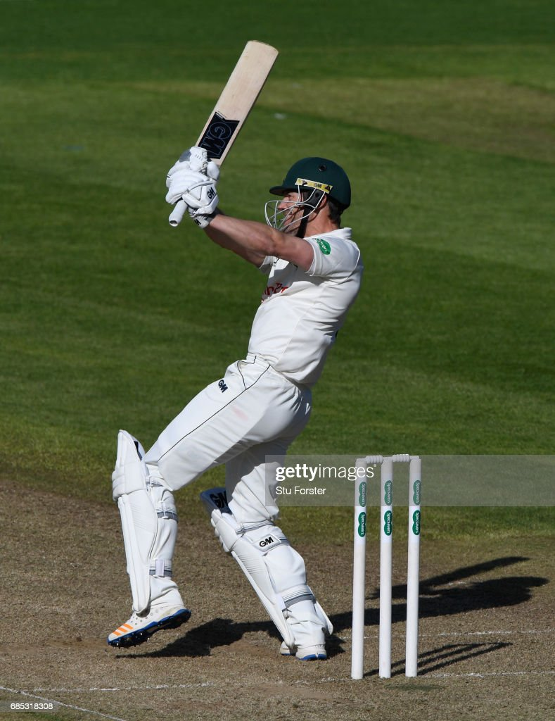 Notts batsman Chris Read hits out during Day One of the Specsavers County Championship Divsion Two match between Glamorgan and Nottinghamshire at SWALEC Stadium on May 19, 2017 in Cardiff, Wales.