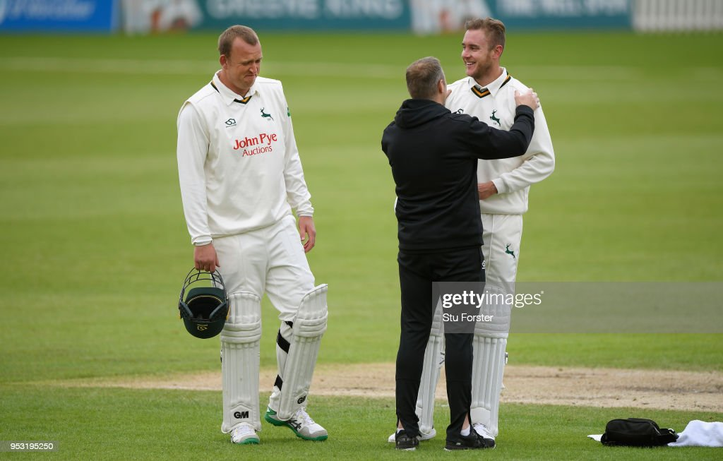 Notts batsman Stuart Broad reacts after accidentaly running into batting partner Luke Fletcher during day four of the Specsavers County Championship Division One match between Worcestershire and Nottinghamshire at New Road on April 30, 2018 in Worcester, England.