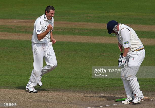 Notts bowler Darren Pattinson celebrates after taking the wicket of Anthony McGrath during day three of the LV County Championship division one match...