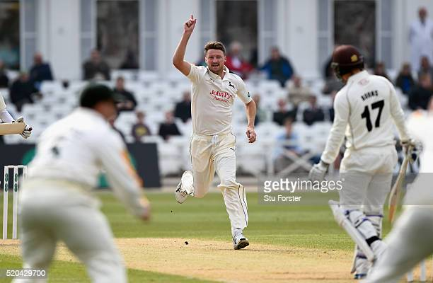 Notts bowler Jackson Bird celebrates after taking the wicket of Surrey batsman Rory Burns during Day two of the Specsavers County Championship...