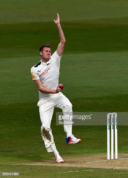 Notts bowler Jake Ball in action during Day two of the Specsavers County Championship Division One match between Nottinghamshire and Surrey at Trent...