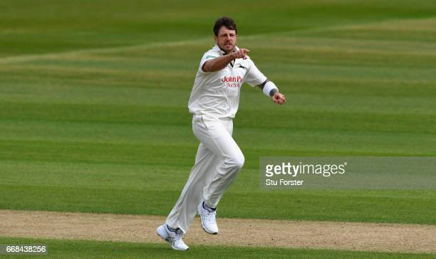 Notts bowler James Pattinson celebrates after dismissing Durham batsman Keaton Jennings during day one of the Specsavers County Championship Division...