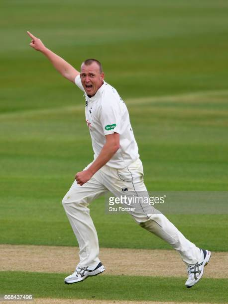 Notts bowler Luke Fletcher celebrates after dismissing Michael Richardson during day one of the Specsavers County Championship Division Two match...