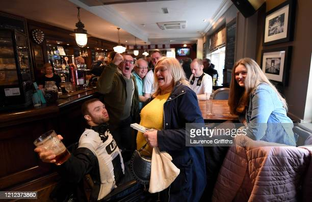 Notts County fans enjoy a pre match drink in a pub near the ground prior to the Vanarama National League match between Notts County and Eastleigh at...