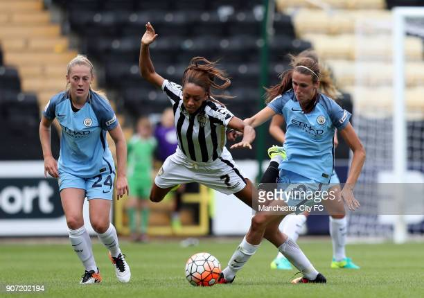 Notts County Ladies v Manchester City Women FA Womens Super League Meadow Lane Manchester City's Jill Scott and Notts County's Jess Clarke battle for...