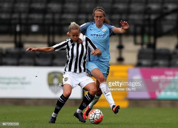 Notts County Ladies v Manchester City Women FA Womens Super League Meadow Lane Manchester City's Jill Scott and Notts County's Aivi Luik battle for...