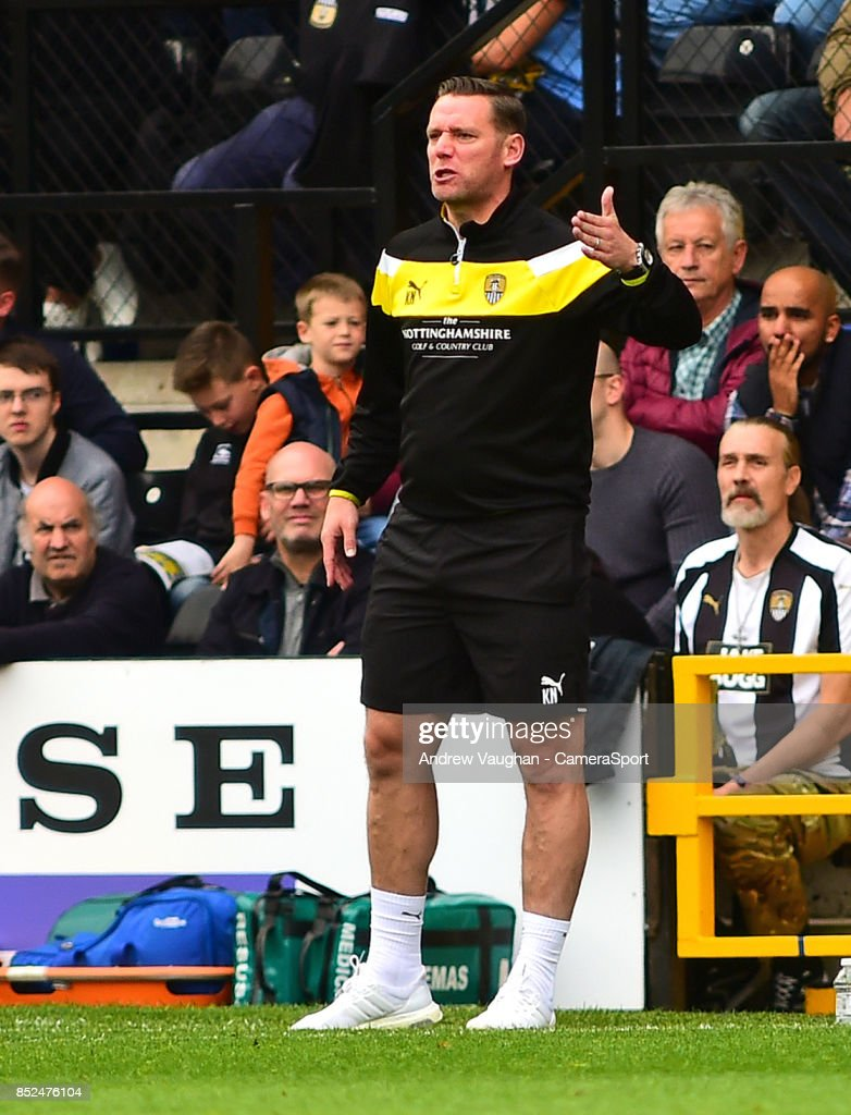 Notts County manager Kevin Nolan shouts instructions to his team from the technical area during the Sky Bet League Two match between Notts County and Lincoln City at Meadow Lane on September 23, 2017 in Nottingham, England.