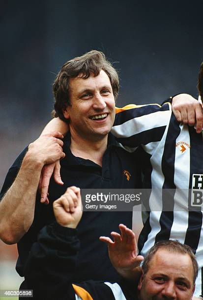Notts County manager Neil Warnock celebrates after the League Division Two play off Final victory against Brighton at Wembley Stadium on June 2 1991...