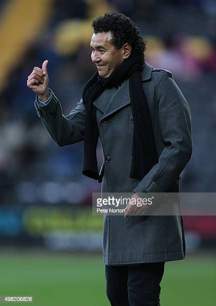Notts County manager Ricardo Moniz gestures to his players during the Sky Bet League Two match between Notts County and Northampton Town at Meadow...