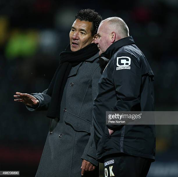 Notts County manager Ricardo Moniz makes a point to his assistant David Kevan during the Sky Bet League Two match between Notts County and...