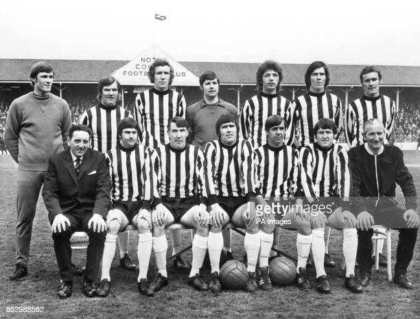 Notts County squad Les Bradd, John Brindley, Brian Stubbs, Barry Watling, David Needham, Bob Worthington and Mick Jones. Front row: Manager Jimmy...