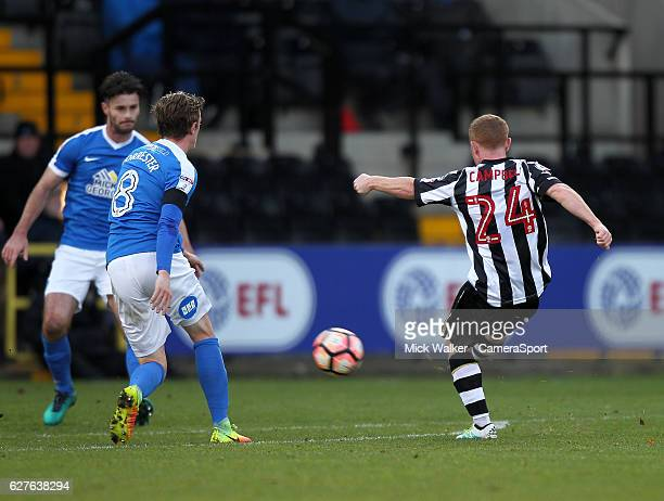 Notts County's Adam Campbell scores his sides first goal during the Emirates FA Cup Second Round match between Notts County and Peterborough United...