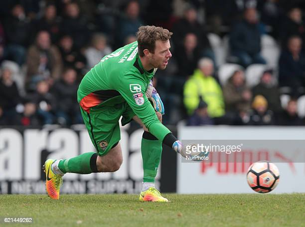 Notts County's Adam Collin during The Emirates FA Cup First Round match between Boreham Wood against Notts County at Meadow Park Borehamwood England...