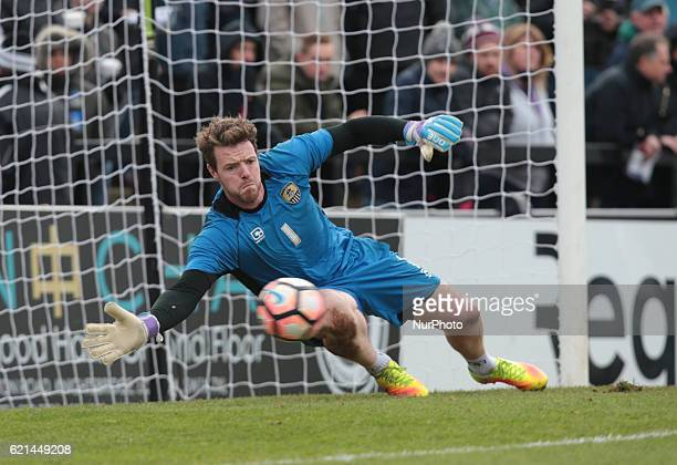 Notts County's Adam Collin warming up during The Emirates FA Cup First Round match between Boreham Wood against Notts County at Meadow Park...