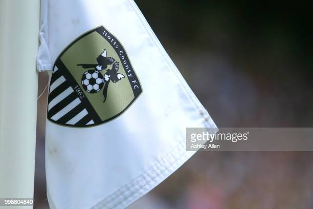 Notts County's corner flag during a PreSeason match between Notts County and Derby County at Meadow Lane Stadium on July 14 2018 in Nottingham England