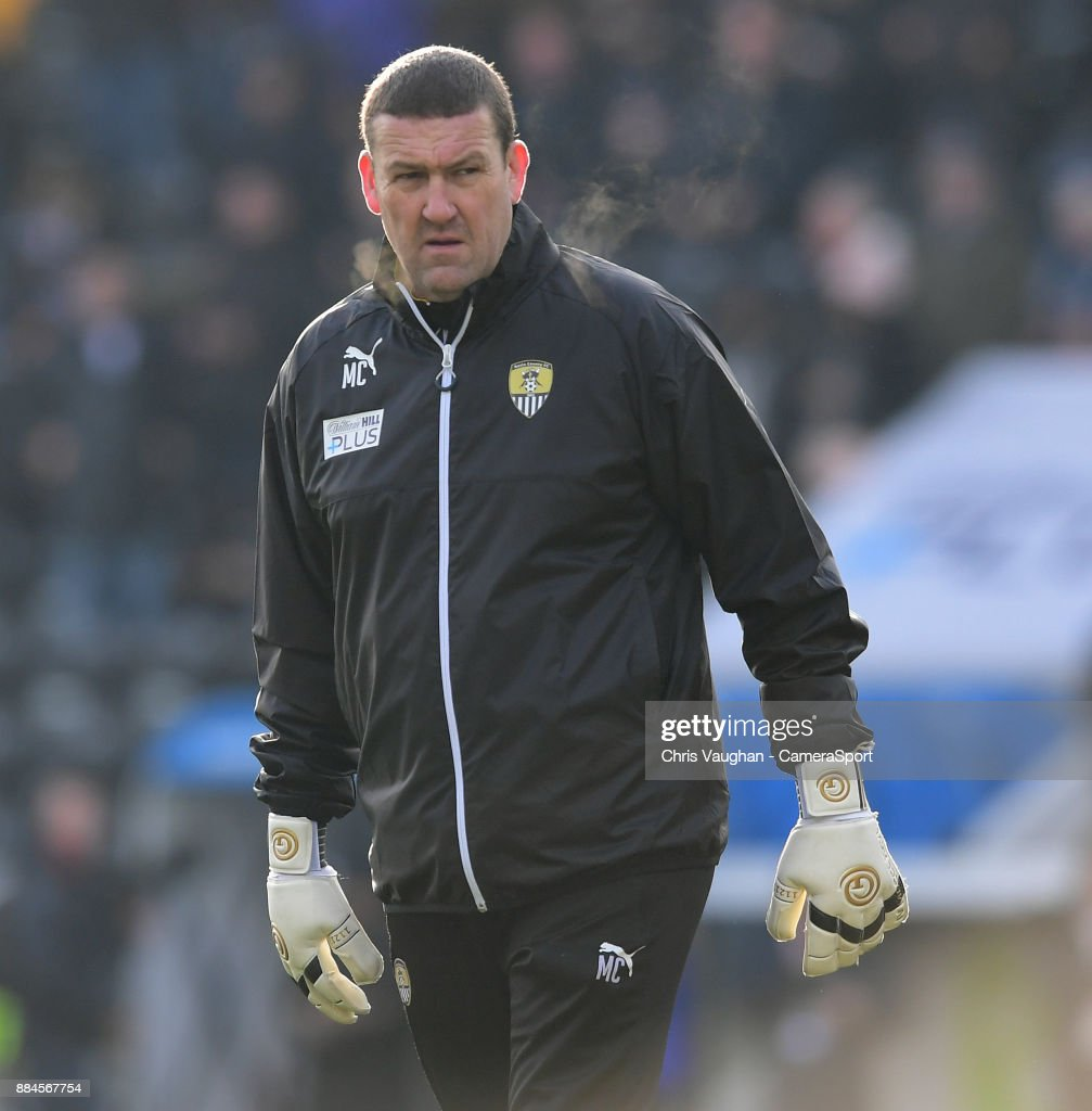Notts County's first team coach Mark Crossley during the pre-match warm-up prior to the Emirates FA Cup Second Round match between Notts County and Oxford City at Meadow Lane on December 2, 2017 in Nottingham, England.