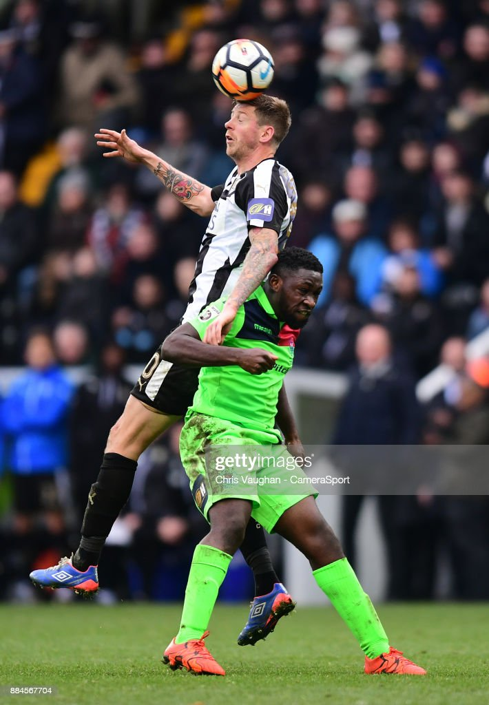 Notts County's Jonathan Stead vies for possession with Oxford City's Mamadou Fofana during the Emirates FA Cup Second Round match between Notts County and Oxford City at Meadow Lane on December 2, 2017 in Nottingham, England.