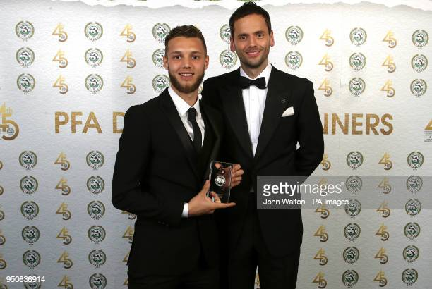 Notts County's Jorge Grant and PFA chairman Ben Purkiss poses with the PFA League Two Team of the Year award during the 2018 PFA Awards at the...