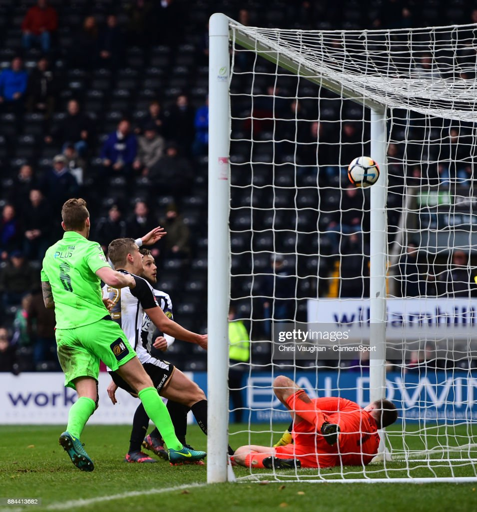 Notts County's Jorge Grant, third in from left, scores his sides third goal during the Emirates FA Cup Second Round match between Notts County and Oxford City at Meadow Lane on December 2, 2017 in Nottingham, England.
