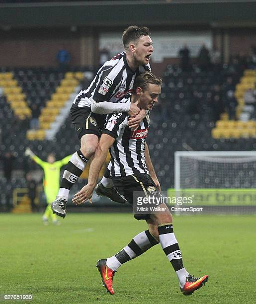 Notts County's Louis Laing celebrates scoring his sides second goal during the Emirates FA Cup Second Round match between Notts County and...
