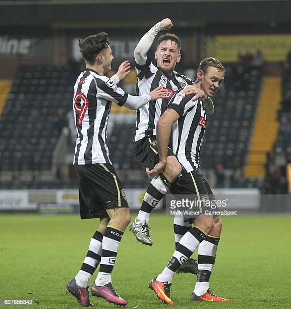 Notts County's Louis Laing celebrates scoring his sides second goal with his team mates during the Emirates FA Cup Second Round match between Notts...